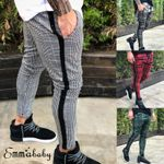 Fashion Stretch Skinny Slim Fit Pants Contrast Plaid Trousers