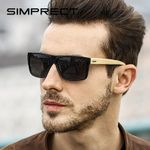 Polarized Wood Retro Square Sunglasses Vintage