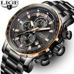LIGE New Fashion Watches Top Luxury Brand Military Big Dial