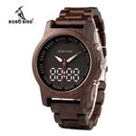 LED Dual Display Clock Wood Digital Wristwatch Wooden