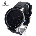 New Ebony Wood Wristwatch Wood Bezel Stainless Steel Case