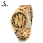Zebra Wood Wristwant Style Wood Dial Green Second Hand Quartz Watch