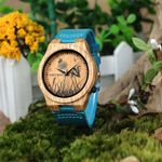 Bamboo Watch Special Design Lifelike Print Dial Face Wooden