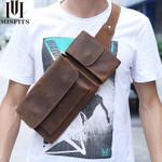 Vintage Chest Bag Genuine Crazy Horse Leather Waist Pack Travel