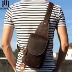 new genuine leather messenger bag casual chest packs