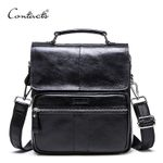 Genuine Leather Messenger Bags With Zipper Pocket High Quality