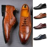 New Brogue Perforated Leather Wing-tip Lace Up Oxford