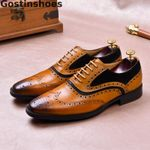 Luxury Shoes Genuine Leather Black Brown Cut-out Wing