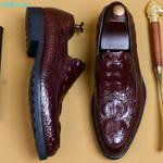 Crocodile Shoes Slip-on Dress Shoe Genuine Leather Wedding