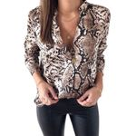 Snake Skin Print Silk Blouse Shirts Long Sleeve Tops