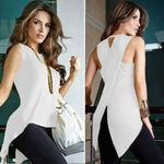 Cross Back Sleeveless Blouse Strappy Vest Tank Tops Blusas Mujer