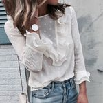 Long Sleeves Casual Lace Polka Dot O Neck shirts Long Sleeve