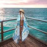 Boho Style Beach Tops Chiffon Striped Floral Long Kimono Cardigans