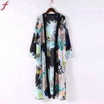 Boho Floral Printed Long Blouse Loose Shawl Kimono
