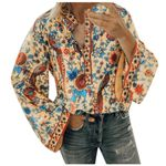 Bohemian Flower Pritned Casual Flare Sleeve Tops and Blouse
