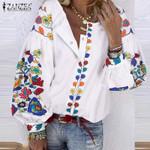 Bohemian Printed Shirts Spring Blouse Puff Sleeve Shirts