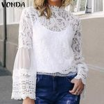 Lace Blouse And Tops Spring Sexy Hollow Out Blusas Plus Size