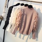 Spring Loose Jumper Fashion Flowers Sleeves Sweater and Pullover