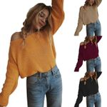 off shoulder pullover sweater knitted sweater long sleeve
