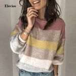Patchwork Striped Femme Sweater O Neck Knitted Pullover
