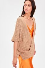 -Camel Double Breasted Collar Knitwear Sweater