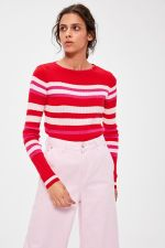 Trendyol Red Striped Sweater Sweater