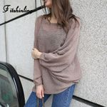 Oversize Sweater Batwing Sleeve Solid Loose Pullovers Knitwear
