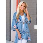 New Floral Loose Floral Printed Half Sleeve Kimono Cardigan