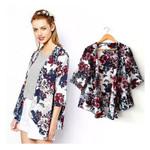 Vintage Floral Loose Kimono Boho Chiffon Cardigan Blouse