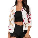 Floral Print Coat  Fashion Boho Print Zipper Three Quarter Coat