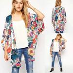 Fashion Sweet Casual Floral Print Loose Shawl Kimono