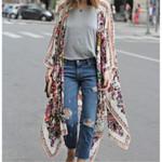 Boho Vintage  Floral Loose Shawl Kimono Cardigan Chiffon Fashion