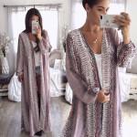 Newest Womens Long Sleeve Snake Chiffon Cardigan Boho Outwear