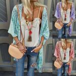 blouses Boho Vintage Floral Loose Shawl Kimono Cardigan