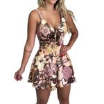 Beach Rompers Lace Up Print Floral Casual Short Jumpsuit