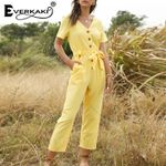 Solid Boho Rompers Jumpsuits Sashes Casual Elegant