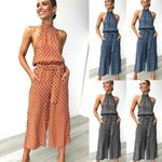 Boho Halter Neck Backless Polka Dot Printed Wide Leg