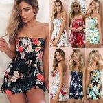 New Bodycon Strapless Floral Printed Sleeveless Jumpsuit Playsuit