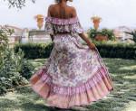 New Vintage Floral Print Maxi Skirt Elastic Waist Tassel