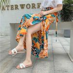 Boho Long Skirt Fashion Print Floral Chiffon Spring Beach Lace Up