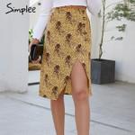 Boho printed split women skirt High waist buttons