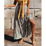 Vintage Boho Long Skirt Plus Size Floral Printing Ruffle