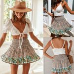 Hot Floral Print Elastic High Waist Short Skirts Ruffled Beachwear