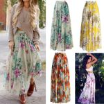 Fashion Floral Jersey High Waist Long Maxi Full Skirt