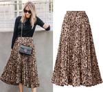 Boho Inspired pleated leopard print long skirt