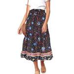 Beach Holiday Vacation High Waist Floral Skirt
