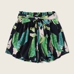 Bohemian Belted Paperbag Waist Tropical Print Shorts