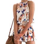 Pieces Fashion Sexy Halter Sleeveless Blusas  Floral Printed