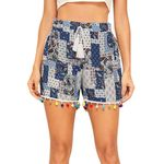 Bohemian Printed Mid Waist Slim Fit Sashes Casual Lace  Shorts