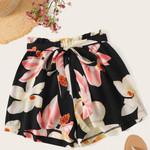 Fashion Plus Size floral Printed Bandage Shorts